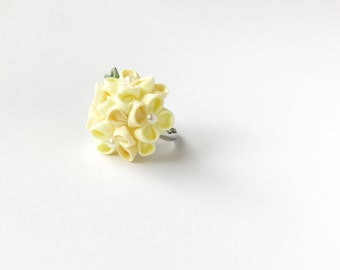 Yellow Hydrangea accessory, floral ring, botanical jewellery, nature rings, botanical ring, statement flower ring, statement floral ring
