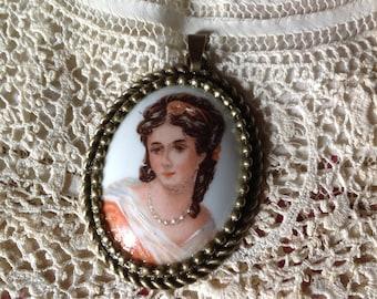 Antique Limoges porcelain Cabochon pendant