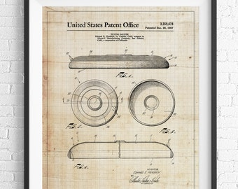 Frisbee Patent Print, Flying Disc Patent, Game Room Art, Game Art, Game Room Wall Art, Blueprint, Vintage Patent Poster, Game Room Decor
