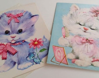 Vintage 1970's Cat Greeting Cards Oversized