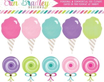 80% OFF SALE Cotton Candy and Lollipops Clipart Clip Art Personal & Commercial Use Instant Download