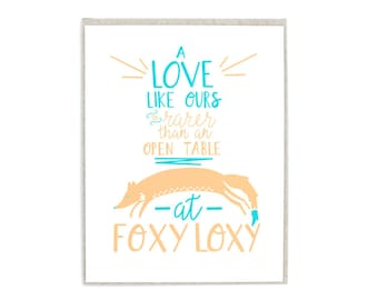 Savannah GA Foxy Loxy Hand Lettered Greeting Card, Light Kraft Envelope Included
