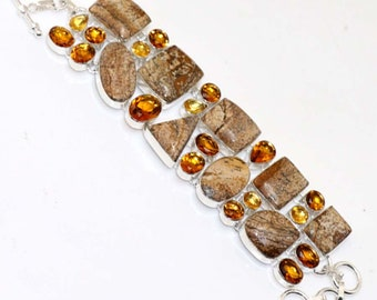Picture Jasper . Lemon Quartz HANDMADE 925 Silver Plated Cluster Bracelet B615