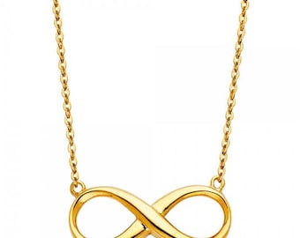 14K Solid Yellow Gold Infinity Pendant Rolo Chain Necklace Set - Love Polish Charm