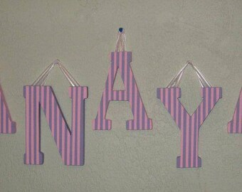 Wooden Letters with Pink and Purple Pinstripe