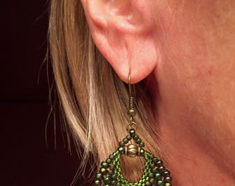Peyote Fan Earrings - Green