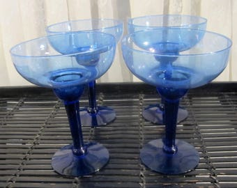 Set of 4 cobalt blue margarita glasses