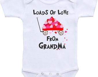 Grandma baby onesie Grandma onesie Grandma baby shower Grandma gift My Grandma loves me Grandmother granddaughter gift Grandma grandson gift