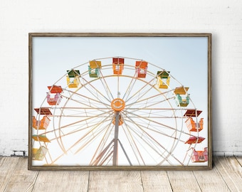 fairs wheel print, carnival wall art, zoo wall art, fairswheel print, childrens room decor, carnival print, carnival wall art, baby room art