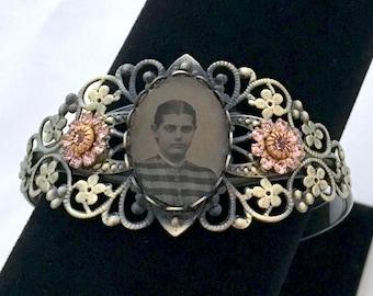 That Victorian Girl -Antique Tintype Brass Filagree Bracelet