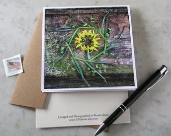 Friendship Mandala ~ One 5x5 Square Note Card (with envelope, blank inside, no message)