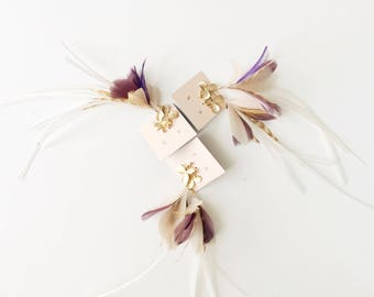 Feather Earrings. Gold Flower Stud Blush Pink and Mauve Natural Feather Earrings. Long White Stripe Dangle Earrings. Spring Fashion SS17
