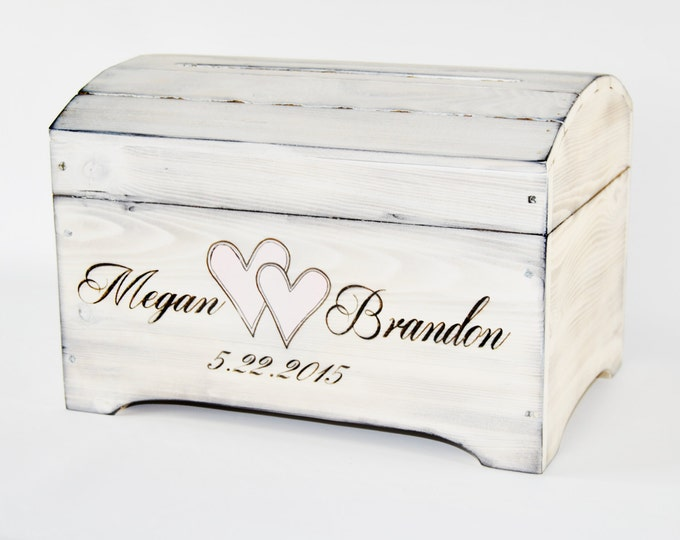 Medium Personalized Card Box in Shabby Chic Whitewash Finish- Personalized card box