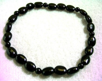Black Onyx Stretch Oval Bead Bracelet, Black Beaded Jewelry, Handmade Stone Bead Bracelet, Easy to Slip On Layering Bracelet