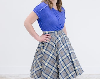 PREORDER ONLY - Ravenclaw Inspired Gray, Bronze, and Blue Plaid Flannel Circle Swing Skirt