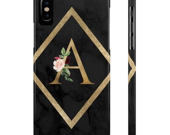 Black Marble Floral Initial Phone Case, Samsung Galaxy s6, iPhone 6 Plus, Samsung Galaxy s7, Samsung Galaxy s8, Samsung Galaxy s5, iPhone 7