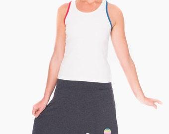 Gifts for Her, Applique Skirt, Gray Cotton Skirt,  A line skirt, Knee Length Skirt, Midi Skirt fold over waistband - Hot air balloon ride