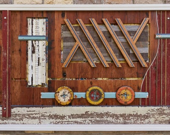 Tethered  - reclaimed wood and metal assemblage