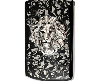 Vertical Card Case Lions Head Inlaid in Hand Painted Enamel Black Ink Swirl Design Neo Victorian Leo Custom Colors with Personalized Options