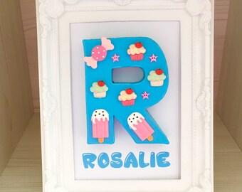 Cupcake decor, Sweet decor, Little girl gift, Kawaii decor, Sweetie letter, Girls room decor, Gift for best friend, Friendship gift
