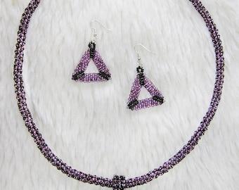 Dark purple necklace & earrings set