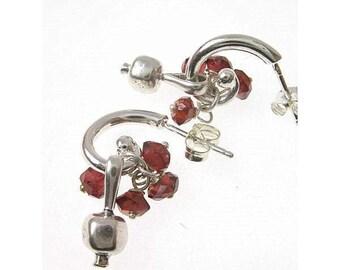 Sterling Silver Garnet Beads Tiny Pomegranate Earrings