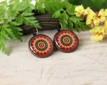 Colorful Nature Inspired, Celtic Eternal Knot Earrings, Antique Bronze, Glass Dome Earrings
