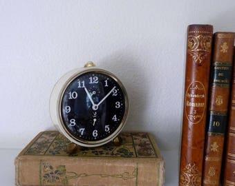 Vintage French Desk Clock, French Wind Up Alarm Clock, Vintage Shelf Decor, Non-Working, Vintage Industrial Decor, Paris Jaz Clock