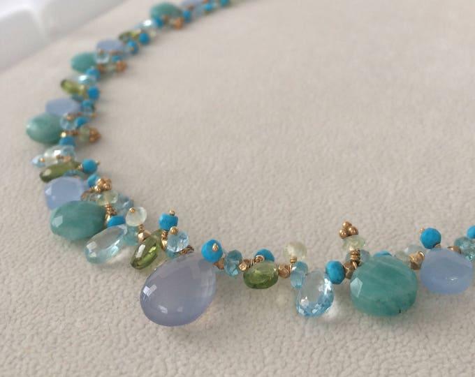 Semiprecious Gemstone Necklace in Gold Vermeil with Amazonite, Blue Chalcedony, Peridot, Topaz, Turquoise, Prehnite, Apatite