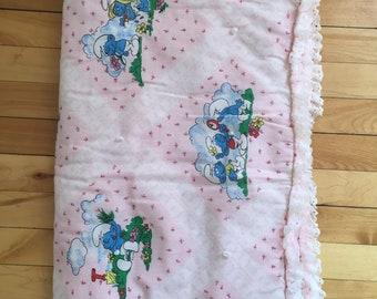 Vintage 1980s Pink Rosebud Lace Smurfs Baby Crib Blanket!