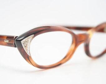 Tortoise rhinestone cat eye glasses vintage pointy cateye frames
