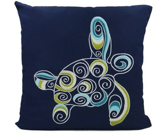 "New Fabric - Sea Turtle - Nautical Embroidered Pillow Cover - Fits 18""x18"" Insert - Navy - Beach / Lake / Nursery Decor (READY TO SHIP)"