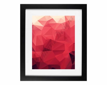 Red Facets | Geometric Home Decor Digital Printable - INSTANT DOWNLOAD