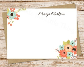 personalized floral note card set . botanical notecards . floral bunch . womens personalized FLAT stationery stationary flowers . set of 10