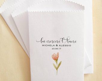 Personalized sachets, sachets for seeds, grow love, envelopes for flowers, door seeds for wedding