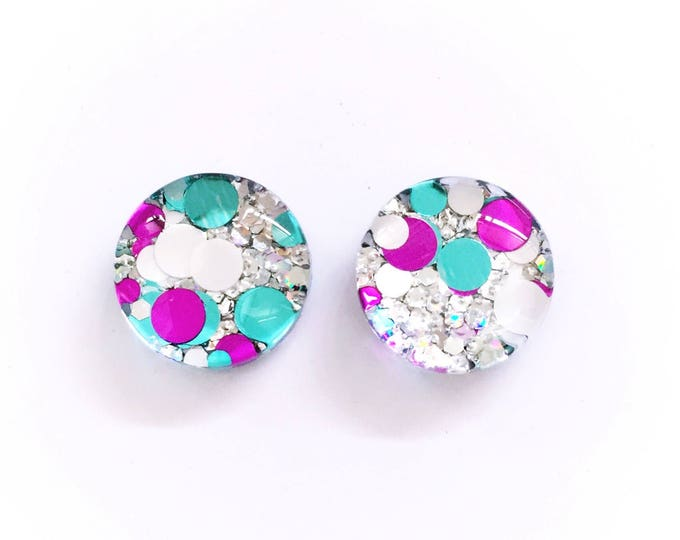 The 'Frost' Glass Glitter Earring Studs