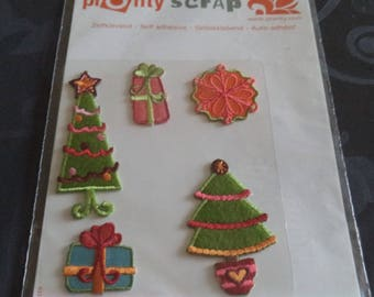 5 new self adhesive theme scrapbooking Christmas embroidered applique