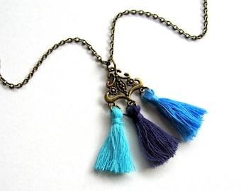 Bohemian Tassel Necklace - bohemian jewelry, tassel necklace, boho necklace, blue and purple, brass, mini tassels, Summer, festival necklace