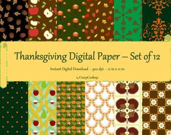 Thanksgiving Digital Paper - Set of 12