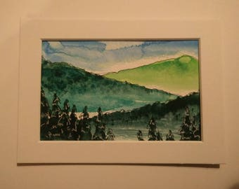 Mountain escape, original watercolor painting