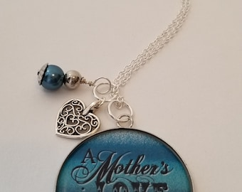 Handmade Mother's Love is Forever Charm Necklace, Mother's Day Gift, Gift for Mom, Blue Ombre Necklace, Custom Necklace, Gift Idea