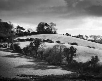 Irish Landscape Black and White Photograph - County Down Hills - Northern Ireland