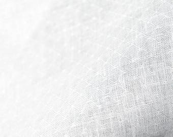 Linen Fabric | Rhombus Patterned | Bright White Fabric | Woven Fabric | Natural Fabric | European Linen | Fabric | Linen Cloth | Textile
