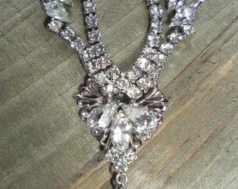Vintage Elegance - 1960's Signed Marianne Rhinestone Princess / Bridal / Formal Necklace