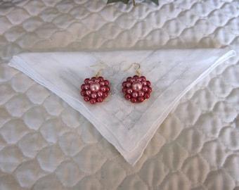 Vintage Pink, Red Cluster Bead Pierced Earrings