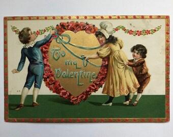 Vintage Valentine Postcard 1900's Printed in Saxony To My Valentine Red Roses Children with ribbon Tuck's Post Card  Valentine Ephemera