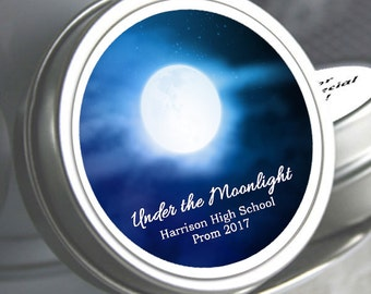12 Personalized Under the Moonlight Prom Mint Tin Favors  - Prom Favors - School Dance Favors - School Dance Decor - Mints - Party Favors