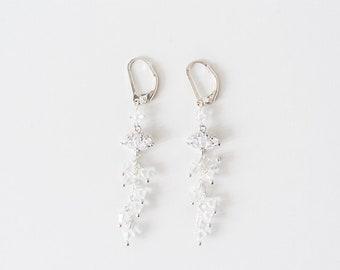 Silver Crystal earrings, Drop earrings, Crystal Bridal Earrings, Gift for her, Wedding jewelry, Cluster earrings - Style 725