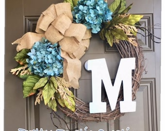 Monogram wreath for front door - year round hydrangea wreath - all year wreath with intitial - everyday wreath with a burlap bow - wreaths