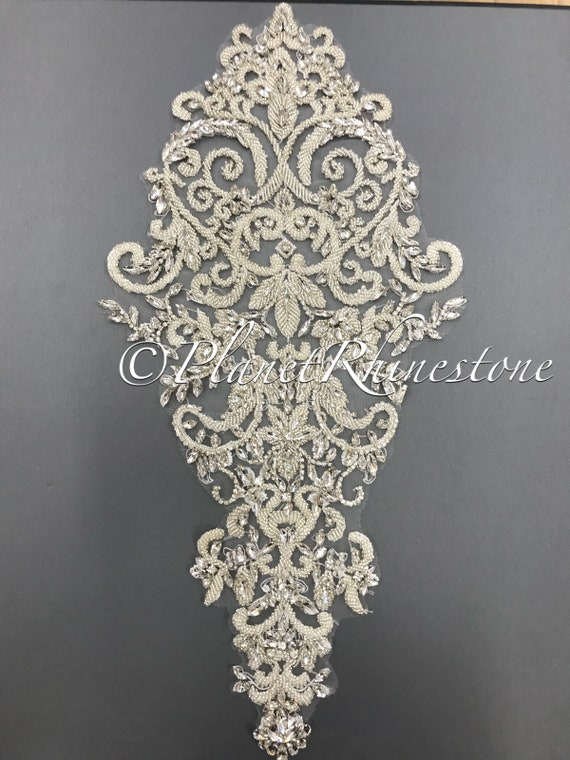Large Crystal Beaded Lace Applique #LA-5